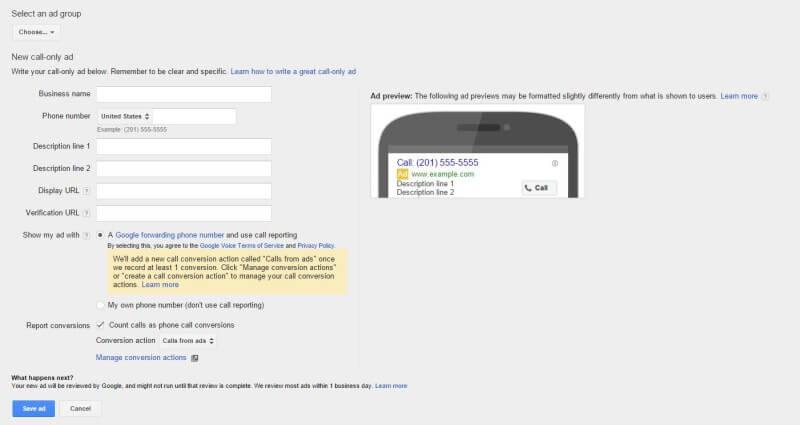 מודעות חיוג בלבד בגוגל אדוורדס – call only ads